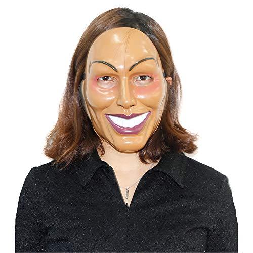 LDRAGON Halloween Männer und Frauen Smiley Plastikkopf Bedeckung Film Thema Human Clearance Plan Maske 3D-Effekt Bar Dance Party Performance-Requisiten,Women