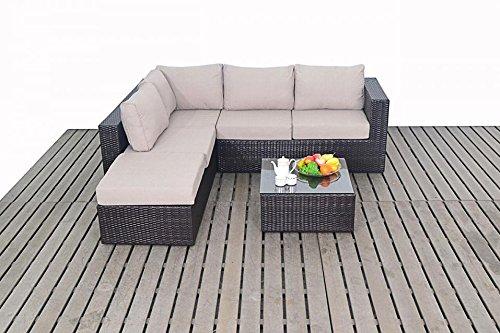 Modern klein Rattan Garten Eckschrank, 2und 3-Sitzer offenen Ende Garten Sofa mit Couchtisch Fußhocker, Dicke Sitz-Kissen, Gartenmöbel Sets
