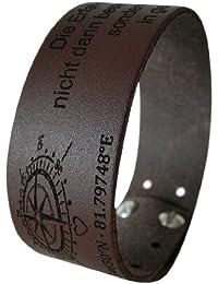 Area17 Leder Armband - Die Koordinaten des Herzens - braun - mit Wunsch Gravur