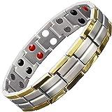 Magnettherapie-Armband Titan für Männer – groß, XL, klein – Armband zur Schmerzlinderung Gesundheitsarmband für Arthritis 4 Heilelemente – TT4 21.5 cm / 8.5 in Silberfarben, goldfarben