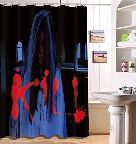 50W x180H CM wasserdicht Polyester Stoff Bad Duschvorhang Set mit Haken, Halloween Bad Vorhang (Halloween-dusche Vorhang-set)