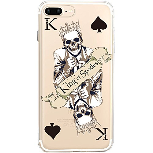 Coque iPhone 6S Plus, TrendyBox PC Hard Cover avec soft TPU Pare-chocs pour iPhone 6/6S Plus (Chouette et Rose Arbre) King of Spades