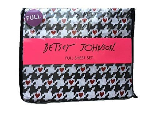 Betsey Johnson Hahnentritt Heart Full-Bettlaken-Set Bettwäsche Hahnentritt