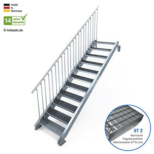 Außentreppe 11 Stufen 80 cm Laufbreite - einseitiges Geländer links - Anstellhöhe variabel von 183 cm bis 220 cm - Gitterroststufe ST2 - feuerverzinkte Stahltreppe mit 800 mm Stufenlänge als montagefertiger Bausatz