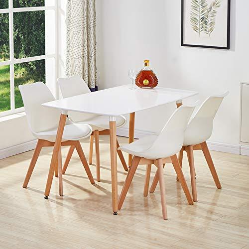 GOLDFAN Juego de Mesa de Comedor y 4 sillas, Mesa Rectangular Retro y Moderna y sillas con Patas de Madera Acolchadas para Cocina, Comedor, Oficina, salón, Madera, Color Blanco