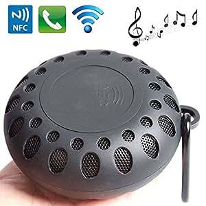 Mini enceinte Bluetooth ronde kit mains libres NFC waterproof noir