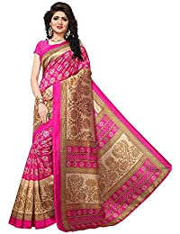 Kanchan Women's Printed Silk Blend Mysore Art Silk Saree With Blouse Piece (KSH PINK QUEEN JHALAR_Multi-Coloured)