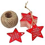 100 etichette per regali natalizi, in carta artigianale, misure 5,3cm x 5,3cm, ideale per lavori di artigianato, a forma di stella Red