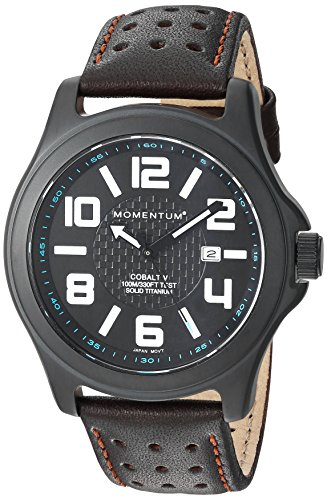 Momentum Men's 'Cobalt V' Quartz Titanium and Leather Casual Watch, Color:Brown (Model: 1M-SP06B2C)