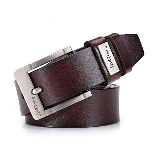 "Tekon Cintura da Uomo in Pelle Vacchetta Vintage, Cintura Classica Uomo Pelle Marrone 1.5 ""Cintura Mucca Vera Pelle Classic JeanS Pin Fibbia 41"" - 49 ""Free Trim (115 cm)"