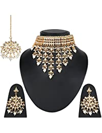 Geode Delight Gold Plated Kundan Style Jhalar Pearl Aad Necklace With Maangtika Earring Set For Women And Girls