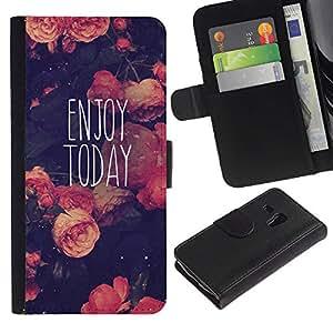 A-type (Enjoy Today Motivational Vignette) Colorful Impression Holster Cuir Wallet Cover Housse Peau Cas Case Coque Pour Samsung Galaxy S3 MINI 8190 (NOT S3)