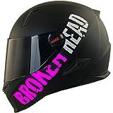 Broken Head BeProud Matt-Schwarz & Pink - Motorradhelm Mit Schwarzem Zusatz-Visier - Größe S...