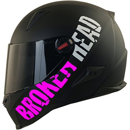 Broken Head BeProud Matt-Schwarz & Pink | Motorradhelm Mit Schwarzem Zusatz-Visier | Größe S (55-56 cm)