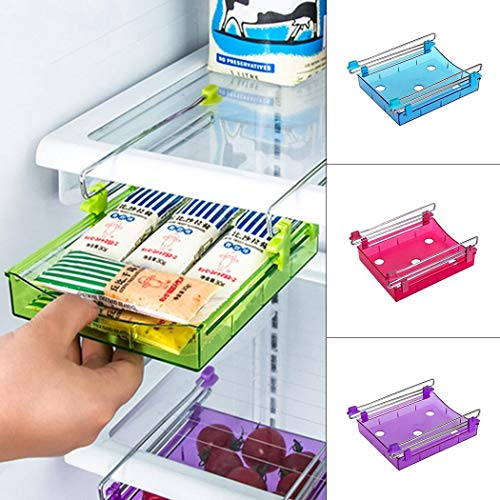Kühlschrank-Aufbewahrungsregal für Kühlschrank mit Schiebeschublade für Zuhause, Küche, Gefrierschrank, Regal, Organizer 1 Stück rot - Metall Gefrierschrank Rack Für