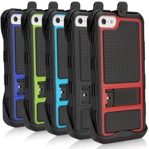 BoxWave iPhone 5 Active Coque avec clip pour ceinture Ultra-robuste, 3 couches hybride pour Apple iPhone 5 Coque avec clip ceinture et pied de support intégré pour Apple iPhone 5 Protect