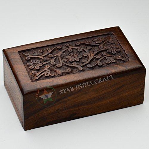 Hecho a mano de madera handcraved cremación Urnas para cenizas humanos adulto por Star India Craft–de madera, madera para mascotas Urnas cenizas, urnas adulto madera Funeral Urns