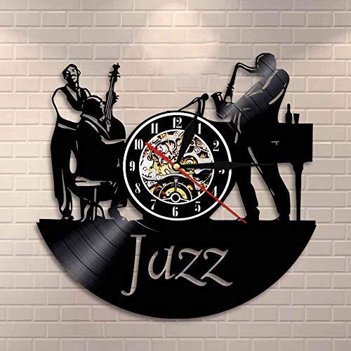 LPHMMD Reloj de Pared de Vinilo Músicos Jazz Band Reloj de Pared ...