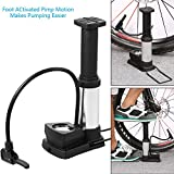 #7: Supermall Mini Bike Pump Foot Activated Floor Pump with Gauge Floor Bicycle AIR Pump, Inflates to 230 PSI, Fits Presta and Schrader Best Quality