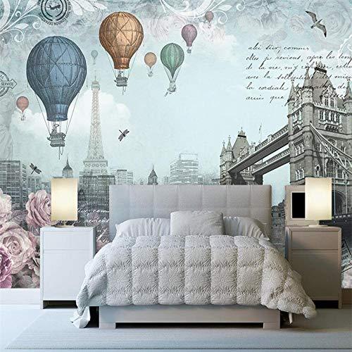 Carta da parati personalizzata retrò stile inglese mongolfiera tv sfondo muro personalizzato grande murale carta da parati verde murale-80 * 56inch