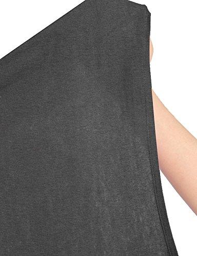 Damen Langarmshirt Jersey Minikleid Fledermaus Pulli Tunika Stretch Grau