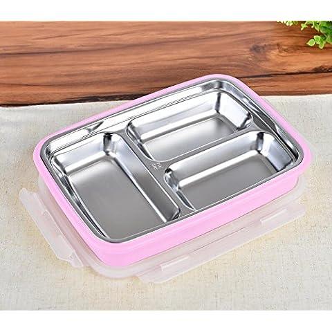 FG.X.YL L'Acciaio Inossidabile beuta a vuoto il pranzo scatole cella primaria bambini Bento Boxes con pranzo sul coperchio della scatola di forma rettangolare2le piastre del pavimento,3 in rosa - Coperchio Primaria