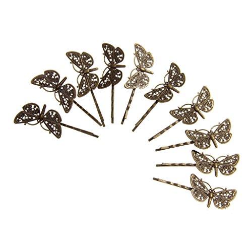 10pcs Bobby Pins Couleur Epingles à Cheveux Libellule Vintage Clair Fille - Bronze Antique, 140