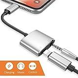 Blitz zu 3.5mm Kopfhörer-Jack-Adapter für iPhone X iPhone 8/8 plus iPhone7/7 plus iPod/iPad. Beleuchten Sie Verbindungsstück zu 3.5 Millimeter-Zusatzkonverter-Kopfhörer-Jack-Adapter-Zusätzen Zubehör Aux Audio Charge Adapter Lightning-Kabel Splitter[Audio + Lade + Musik]. Unterstützen iOS 11 später.
