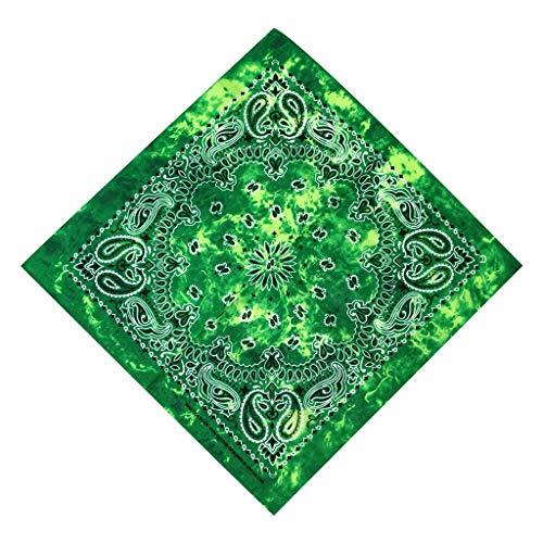 ruiruiNIE Gradient Tie-Dye Ethnische Paisley Blumendruck 50x50CM Unisex Baumwolle Sport Einstecktuch Schal Stirnband Bandana Hip-Hop-Armband - 2# - Grün -