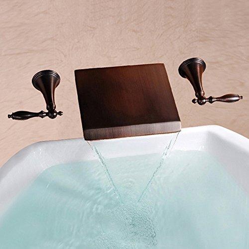 YYF-FAUCET Robinet de Bassin Moderne Mural Poids Léger Salle De Bain Bureau Cascade Robinet De Bassin, Double Poignée Eau Chaude Et Froide, Accessoires en Bronze, 43 * 25 * 7cm (Color : Bronze)