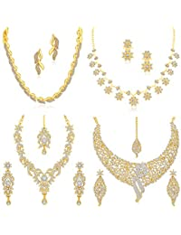 Sukkhi Sparkling Gold Plated Austrian Diamond Set of 4 Necklace Set Combo Jewellery for Women