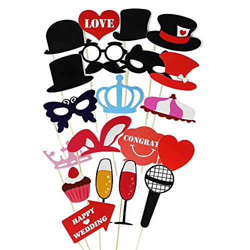 Imagen de goodlucky365 75pcs diy photo booth props cabina de fotos accesorios máscara gafas labios rojos corbatas sombreros para fiesta mascarada boda fotos fiesta favor graduación alternativa