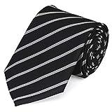Fabio Farini Schlips Krawatte Krawatten Binder 8cm schwarz grau silber gestreift