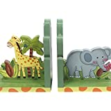 Fantasy Fields by Teamson Sunny Safari Chilldrens Wooden Kids Jungle Bookends Decoration Gift 9837A