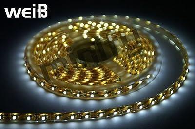 SET: LED STRIP WEISS WASSERDICHT 5 METER - INKL. NETZTEIL / 300 LEDs / Leiste / Band von MFY bei Lampenhans.de