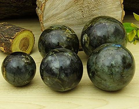 Reikiera Crystal Healing Labradorite Pierre Boule Gem PIERRE Sphère Naturel Avec Anneau Stand Reiki Table Decor- Choisissez