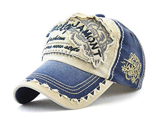 Classic Unisex Baseball Cap Einstellbar Letter Patch Sport Kappe Visoren-5 Farben (Blau)