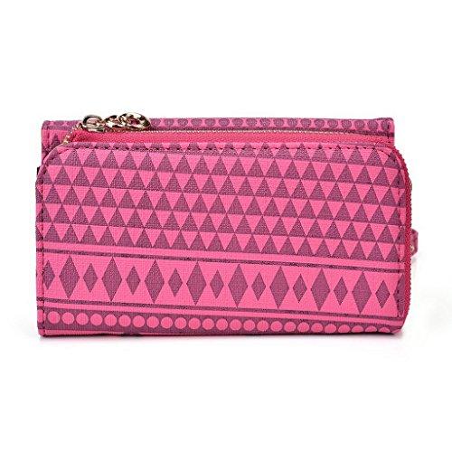 Kroo Tribal Urbain style Téléphone Mobile Walllet embrayage pour Prestigio MultiPhone 8500DUO multicolore marron Rose (Hot Pink)