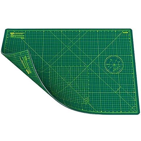Ansio® Tapis de découpe double face autocicatrisant 5couches unités métriques et impériales A1(90x60cm) vert