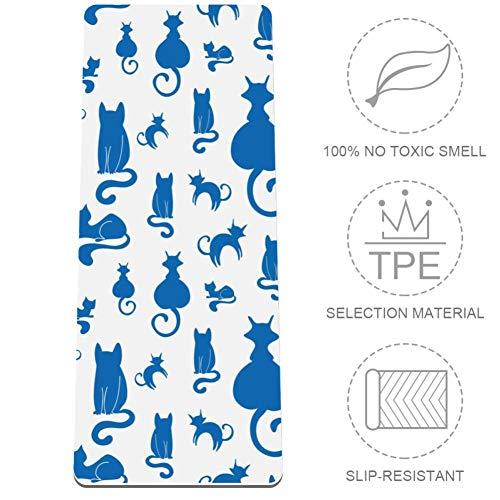MUOOUM Blue Cats Silhouette Pattern - Esterilla Yoga
