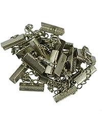 12pcs Conjuntos de Mosquetón Clip Engarzado Termina Cadena Suplemento 22x6mm - Plata