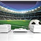 DekoShop Fototapete Vlies Tapete Moderne Wanddeko Wandtapete Fußball auf Stadion AMD1915V4 V4 (254cm. x 184cm.)