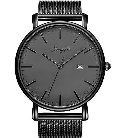SONGDU Herren Schwarze Quarz Armbanduhr Elegant Casual Edelstahl Quarzuhr Uhr modisch Analog Zeitloses Design klassisch Milan Strap Kalender Datum