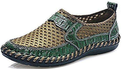 Besporter Herren Sommer Schuhe Mesh Loafers Flache Schuhe IM Freien Fahren Wasser Schuhe Grün