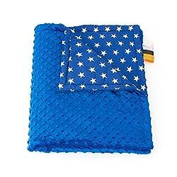 75cm x 100cm, Royal blue + Stars: 1buy3 MINKY lined baby blanket |plush blanket |play rug |cuddle blanket 75 x 100 cm (Royal blue + Stars)