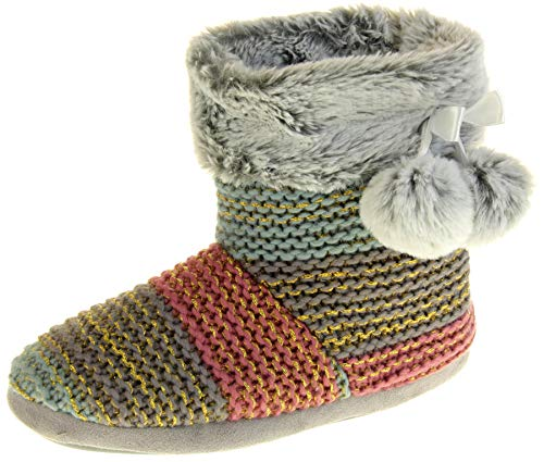 Dunlop Eleanor Womens Cable Knitted Wool Slipper Boots Ladies Slouch Boots