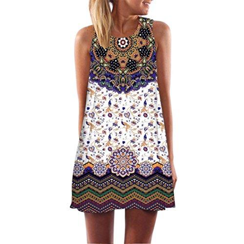 VJGOAL Women Loose Summer Vintage Sleeveless 3D Floral Print Bohemian O Neck Tank Short Mini A Line Sexy Beach Cool Party Sundresses Party Dress