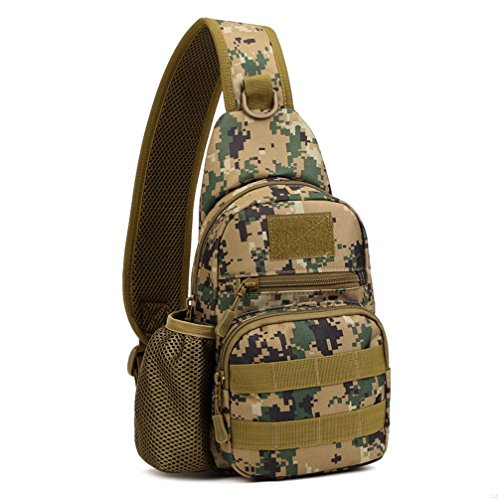 SLBGADIEME Lnclined Sling Chest Bag Leisure Camouflage Bag With Kettle Set For Ipad Backpack Sports Outdoor Hiking Camping Riding(jungle digital)