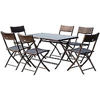 Outsunny Ensemble salon de jardin 6 personnes grande table rectangulaire pliable + 6 chaises pliantes métal résine tressée PC chocolat 32