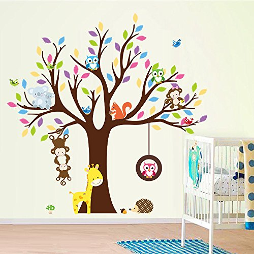 Rainbow fox Jungle zoo Wild Animal tree Wall Sticker Decals,monkey ,giraffe ,owl ,Deer,birds ,flowers , Vinyl for Kids Baby room home nursery decoration (ZY1232)
